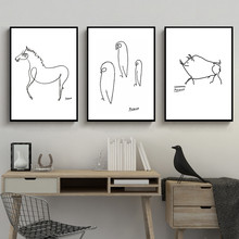 Black And White Picasso Line Drawing Animals Pig Horse Penguin Sketches Poster Canvas Painting Wall Picture Home Room Decoration(China)