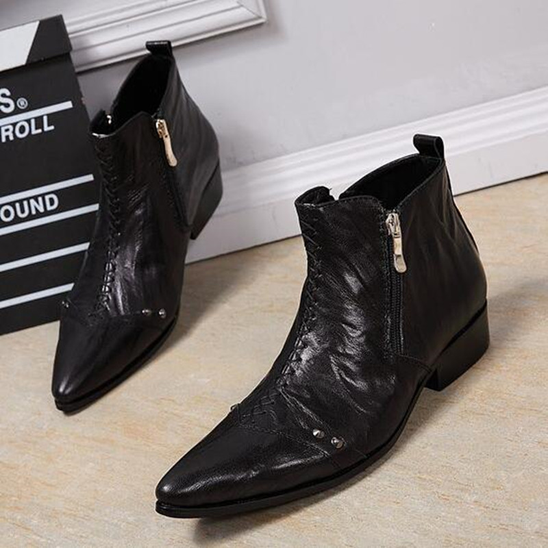 High Quality Men Short Boots Genuine Leather Formal Men Shoes Wedding Dress Boots Winter Cowboy Motorcycle Boots Men Ankle Boots