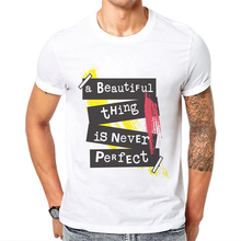 Short-sleeve Men T-shirt Clothes Trend O-neck Cotton Personality Beautiful Things Is Never Perfect Letter Printing Mens T Shirts