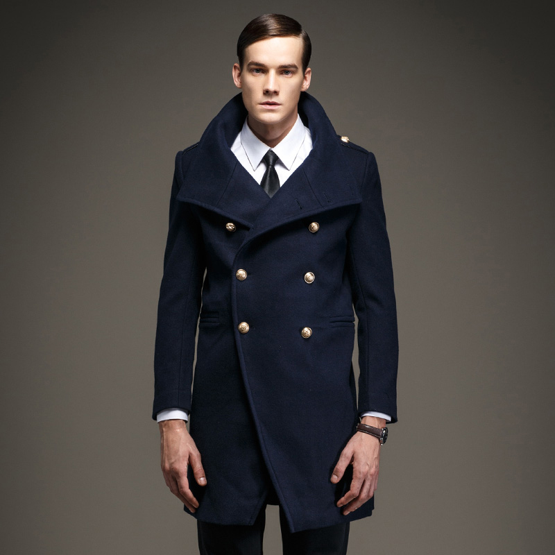 Men Big and Tall Classic Wool Blend Pea Coat Fashion slim trench ...