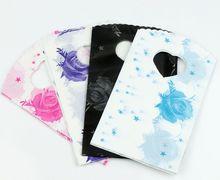 100pcs 4Colors Pink Blue Black Purple Stars Rose Plastic Bag Gift Bags Jewelry Pouches 15X9cm GB002