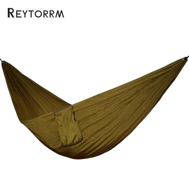 Durable Parachute Hammock Jardim Portátil Dobrável Ao Ar Livre Mobiliário de Praia Nylon Tecido Pendurado Balanço Hamac 1-2 Pessoa