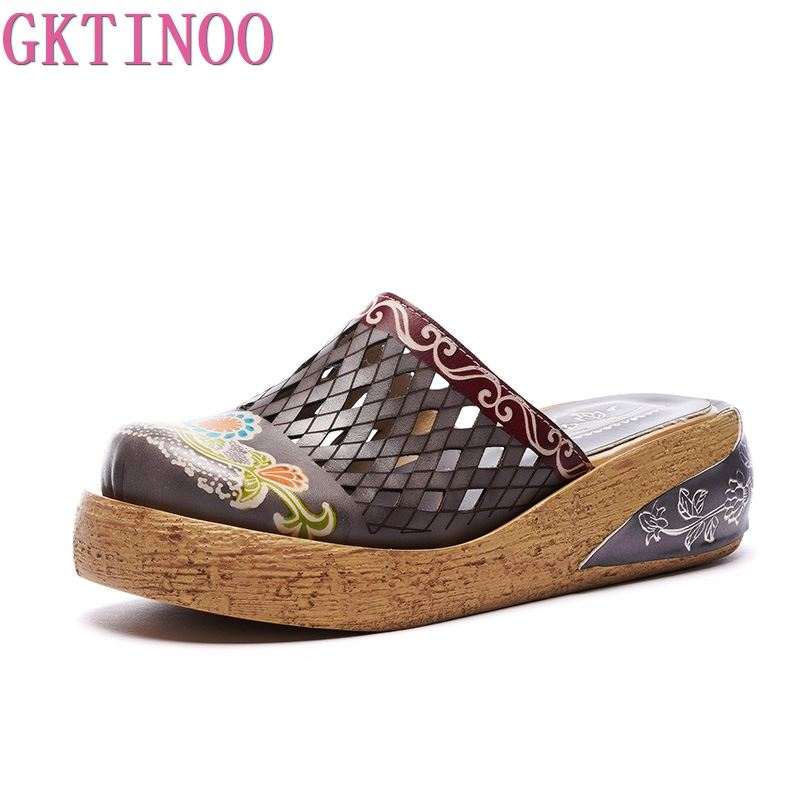GKTINOO Genuine Leather Shoes Hollow Slippers Handmade Slides Flip Flop On The Platform Clogs For Women