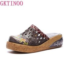GKTINOO Genuine Leather Shoes Hollow Slippers Handmade Slides Flip Flop On The Platform Clogs For Women Woman Slippers Plus Size jellyfond flower slippers genuine leather shoes woman handmade slides flip flops platform clogs for women slippers plus size