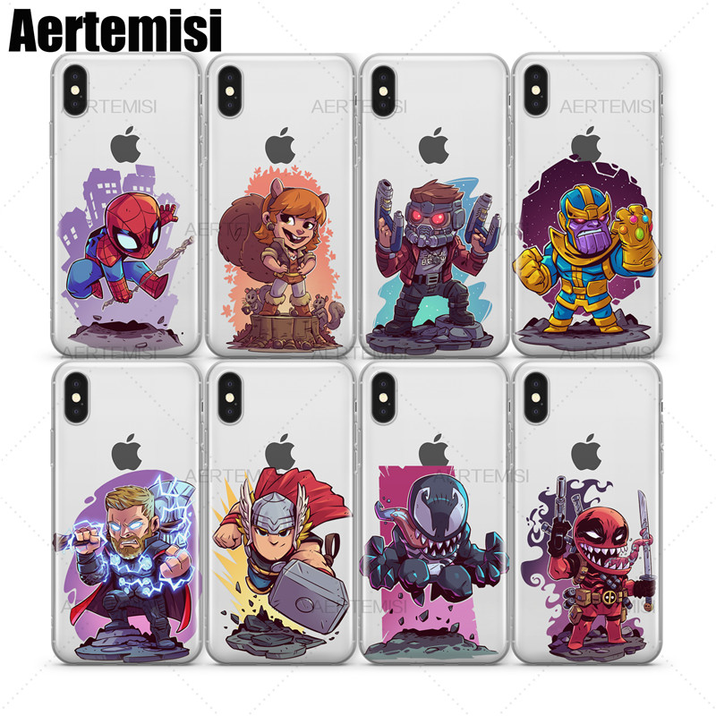 Aertemisi Clear TPU Case Cover for iPhone X XS Star-Lord Thanos Thor Venom Venompool Winter Soldier Wolverine Yondu image