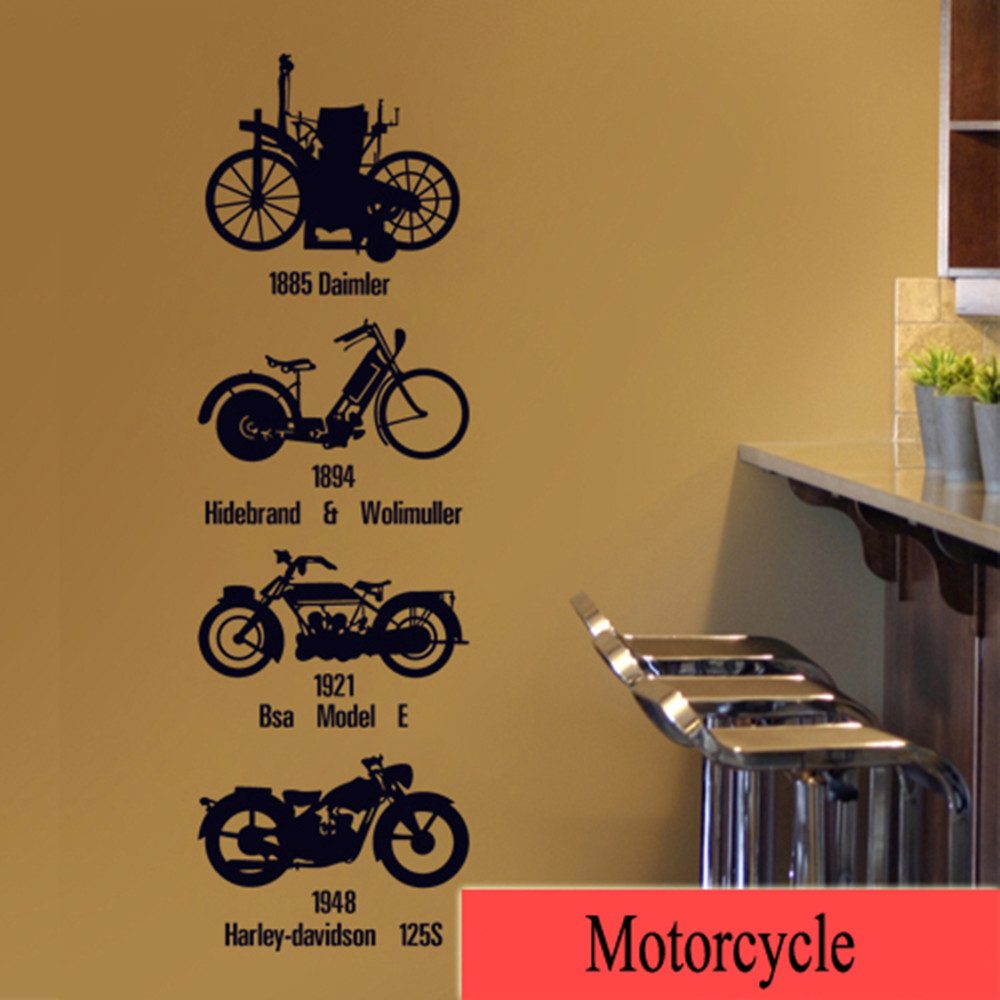 Personalise home decoration Creative wall Sticker Motorcycle pattern suit for Living room and bedroom free shipping