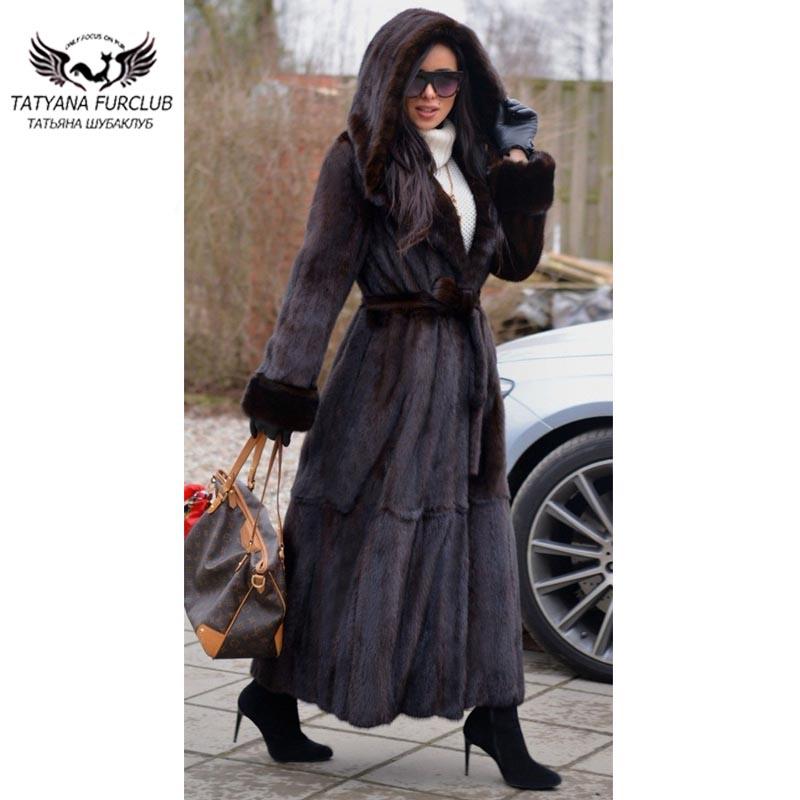 Brun Foncé De Dark Venir Chaude X 2018 Vente Avec Brown Type Femmes Russie Nouveau Manteau longue Outwear Vison Grand Capot Tatyana Fourrure Jupe qtSIgx