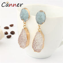 CANNER Boho Natural Stone Earrings Korean Statement Fashion Jewelry Geometric Resin Earring for Women Girl oorbellen FI