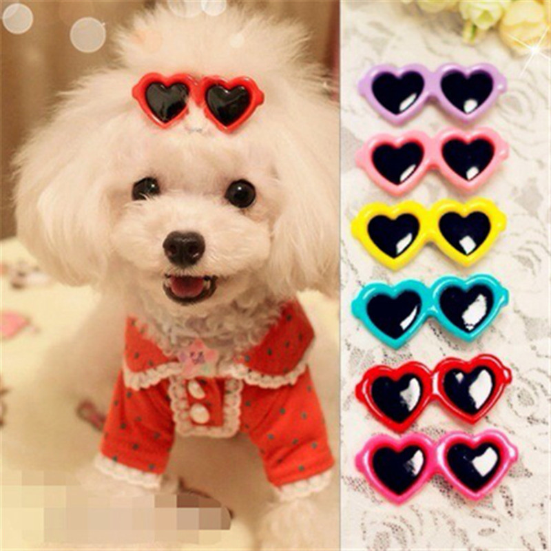New Pet Lovely Heart Sunglasses Hairpins Pet Dog Bows <font>