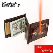 Vintage Crazy Horse Leather Men Money Clips 3 Folded Cash Cl