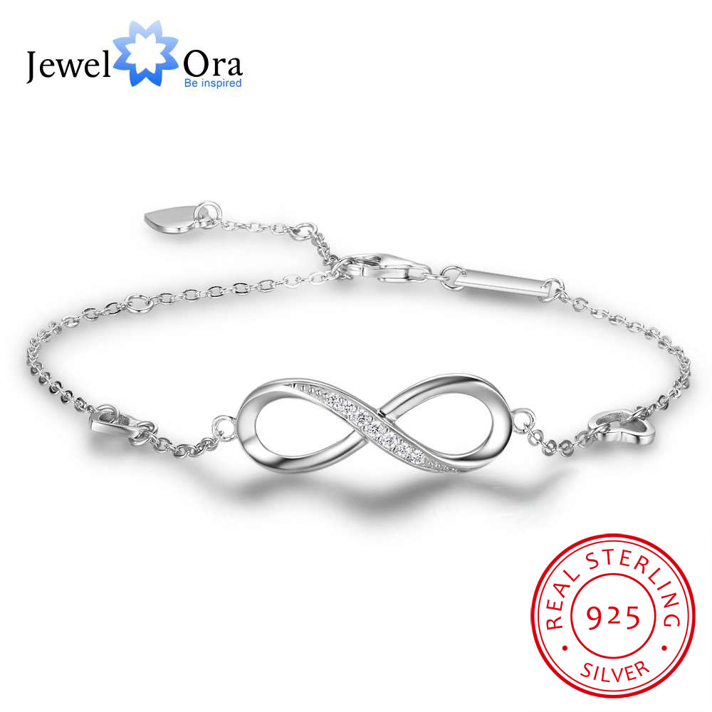 Amor infinito pulseras de plata esterlina 925 para mujeres boda ajustable pulseras y brazaletes regalo de aniversario (JewelOra BA102057)