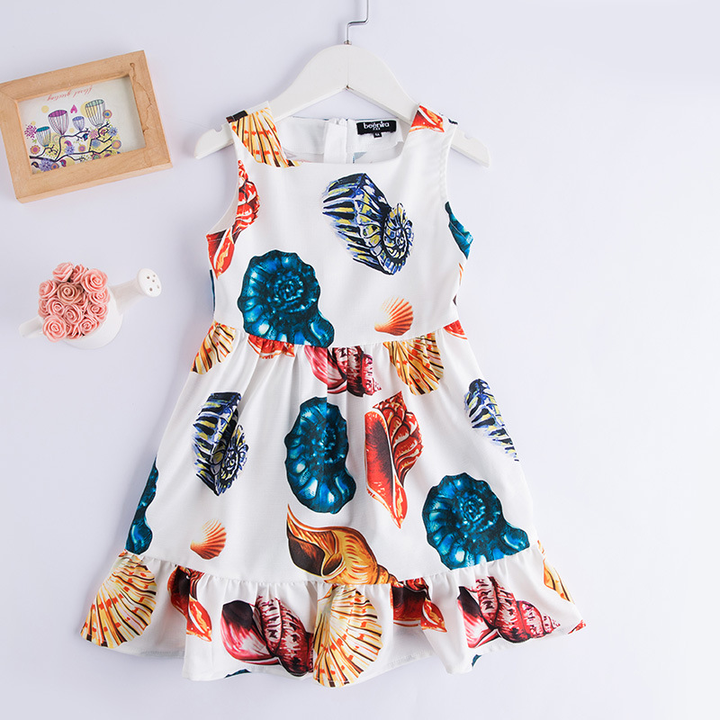 Summer children girl Sicily clothing A-line sleeveless white conch print toddle sundress 3-14T kids girls fashion party dresses