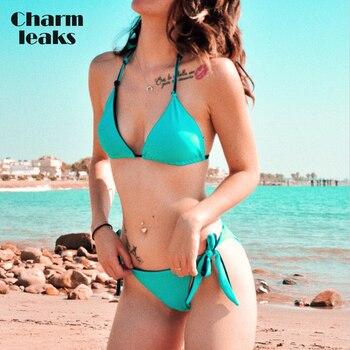 цена на Charmleaks Women Bikini Set Halter Swimwear Solid Color Swimsuit Side Bandage Bathing Suit Beachwear Sexy Bikini