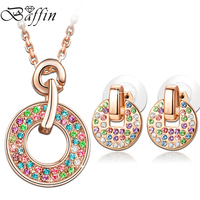 Rose Gold Plated Circle Jewelry Set Crystals From Swarovski Fashion Pendant Necklace Piercing Earrings Women Wedding