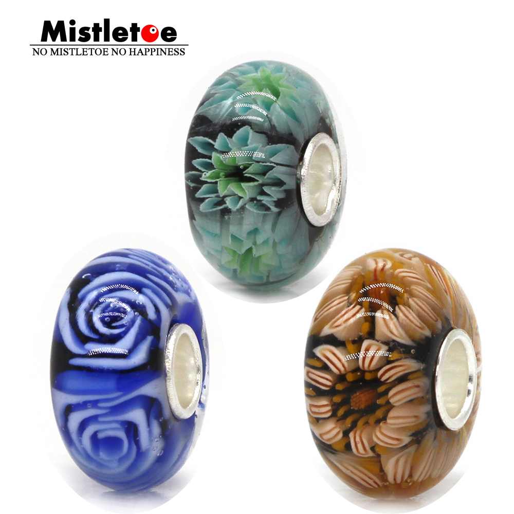 Mistletoe Jewelry 925 Sterling Silver 3D Flowers Pink Blue Green Daisy Rose Murano Glass Charm Bead Fit European Bracelet стоимость