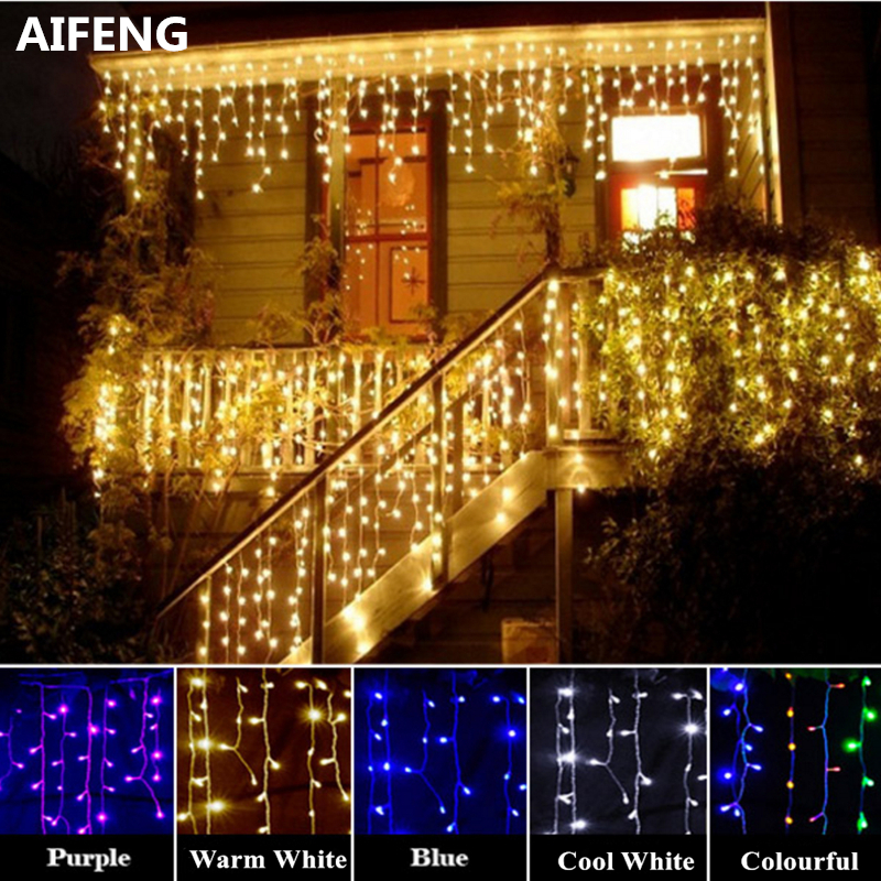 AIFENG Christmas Lights Outdoor Decoration 3M Wide 0 3 0 6M Droop Led Curtain Icicle String