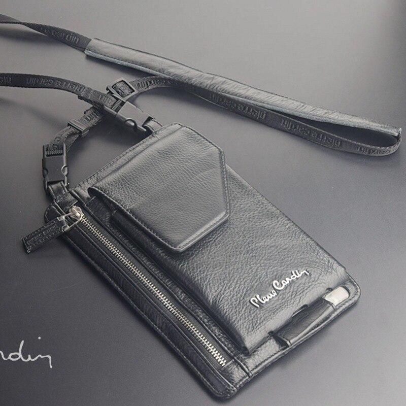 imágenes para Pierre cardin masculino ocasional hombro bolsa bolso del hombre del zurriago de cuero genuino correa del bolso para el iphone 6 a 7plus5. 5 pulgadas bolso del teléfono móvil