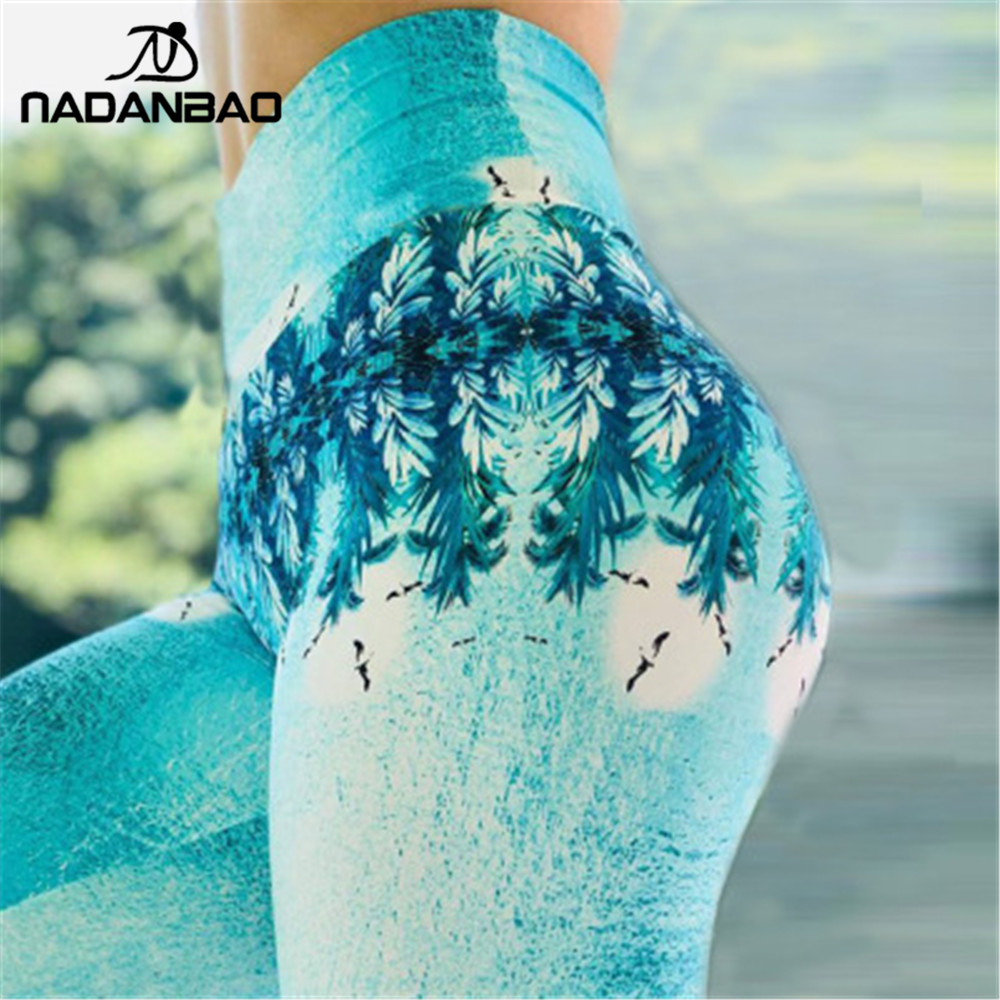 NADANBAO Sexy Push Up High Waist Women Leggings Blue Plant 3D Sporting Fitness Legging Plus Size Legins For Woman Pants