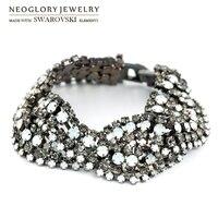Neoglory MADE WITH SWAROVSKI ELEMENTS Rhinestone Bracelet Geometric Style Alloy Plated Classic Design Bangle Lady Summer