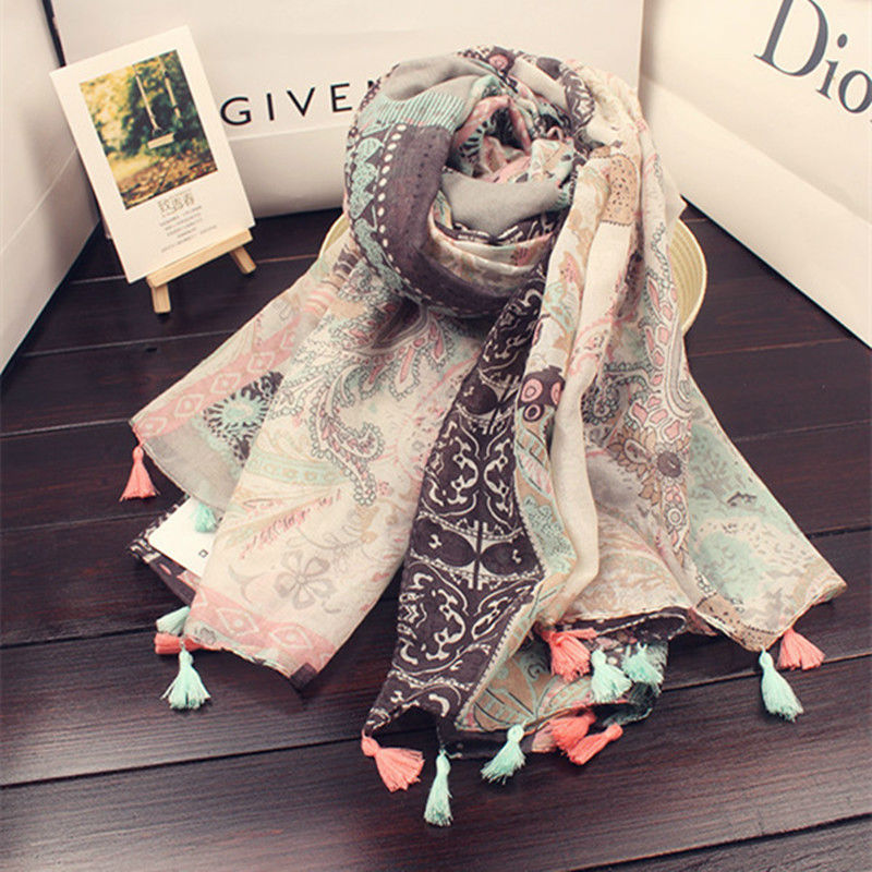 New paisley tassels scaraves soft pretty color shawl women vintage hijabs cosy scarf flowers print foulard