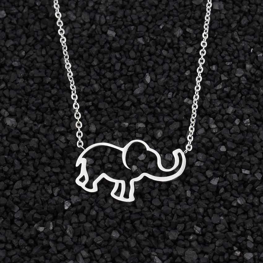 Women Choker Stainless Steel Good Luck Origami Elephant Necklace Chain Geometric Hollow Woodland Animal Pendant Boho Jewelry