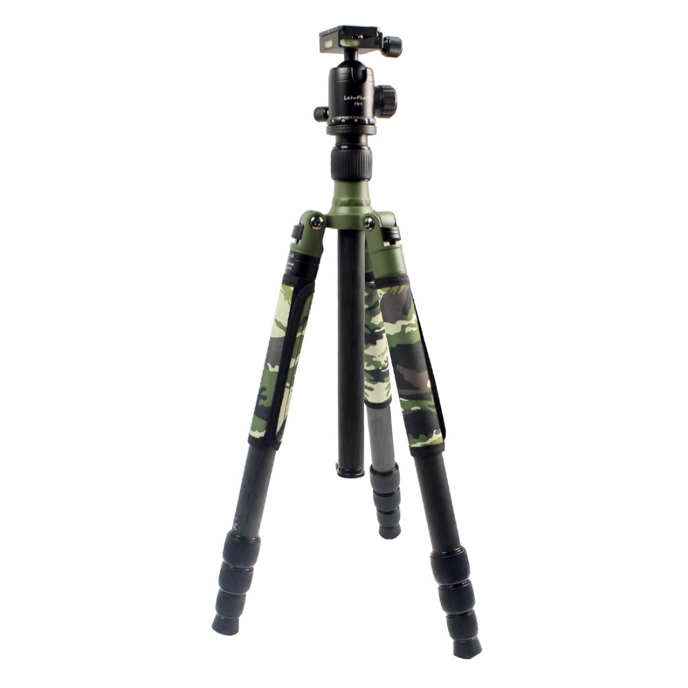 XILETU Professional Carbon Fiber Tripod Kit Army Olive Green Camouflage Sleeve Military Monopod Panoramic Ball Head Q19828-in Tripod Heads from Consumer Electronics    1