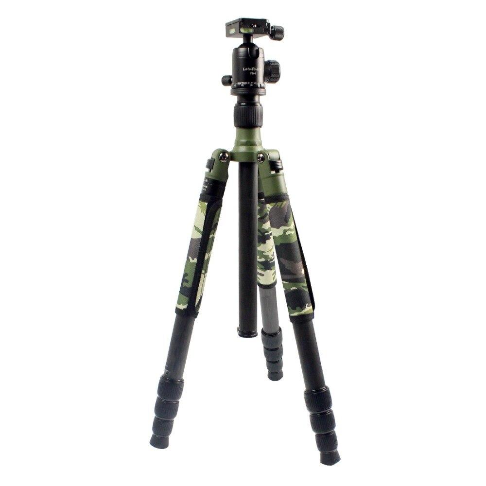 XILETU Professionnel Trépied En Fiber De Carbone Kit Armée Vert Olive Camouflage Manches Militaire Monopode Panoramique Rotule Q19828