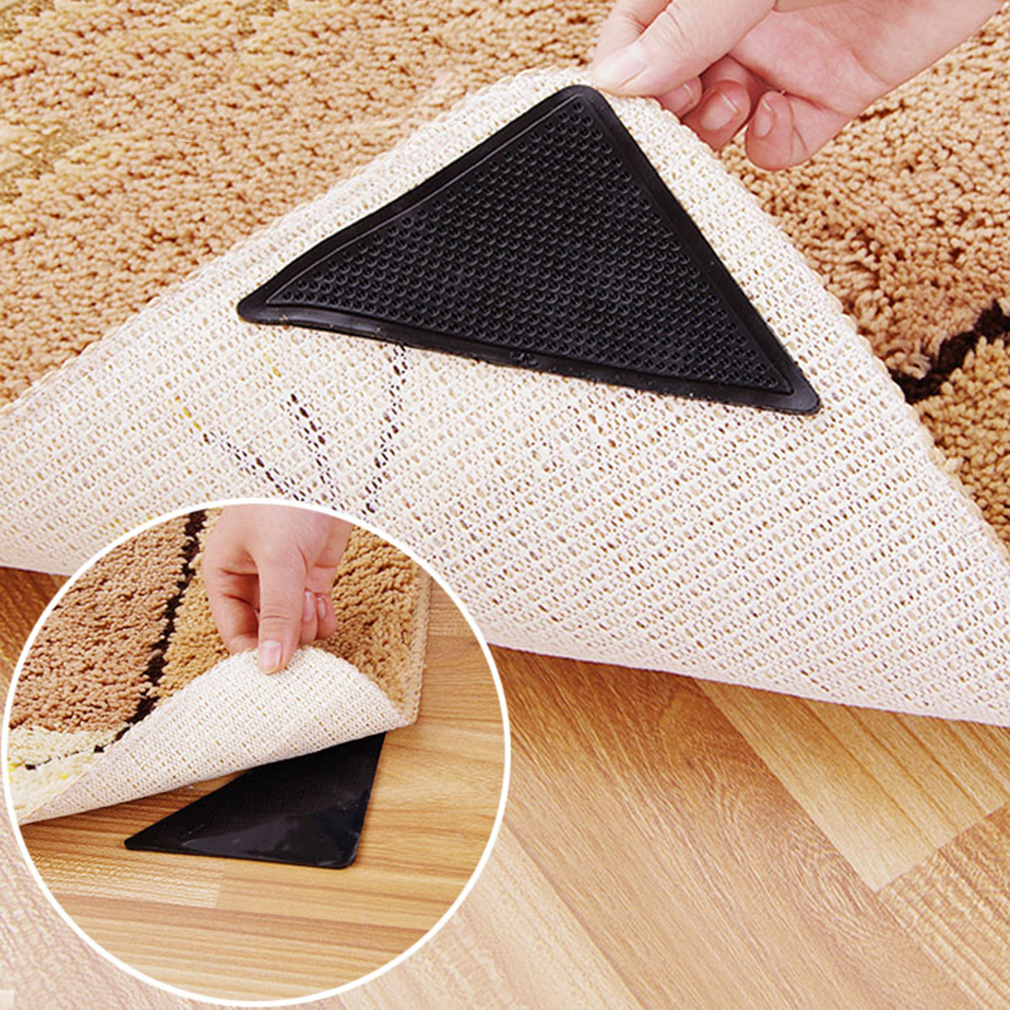 4 pcs/pack Rug Carpet Mat Grippers Non Slip Anti Skid Reusable Silicone Grip Pads 2018 Sales
