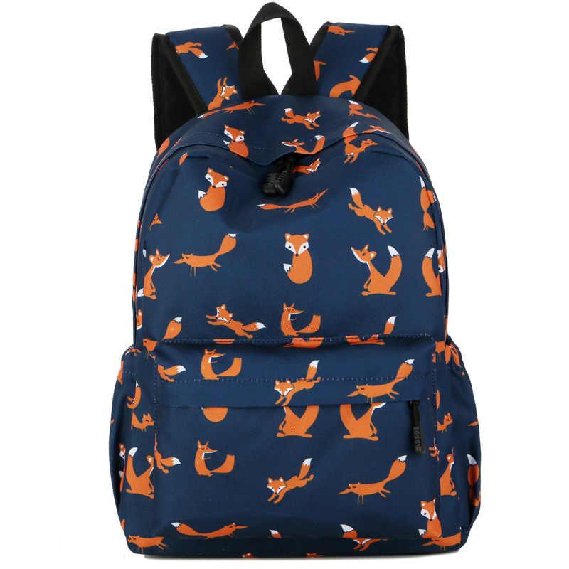 29ffe32b032 Fox Printing Backpack Women Carton rabbit Bookbag Cute penguin School Bag  for Teenage Girls Fashion abstract