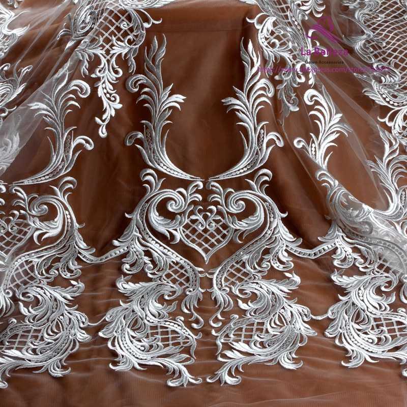 """La Belleza Off Белый/черный полиэстер на сетке Тяжелая вышивка свадебное платье кружевная ткань 1 ярд 51 """"Ширина"""