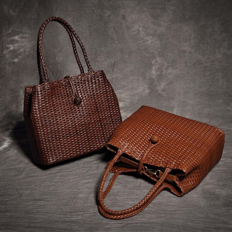 brand Designer Genuine Leather Handbags Ladies Casual Shoulder tote Women Cowhide Knitting Solid bags bolsa feminina genuine nature cow leather handbags ladies casual solid weave shoulder tote women hand knitting fashion bags bolsa feminina
