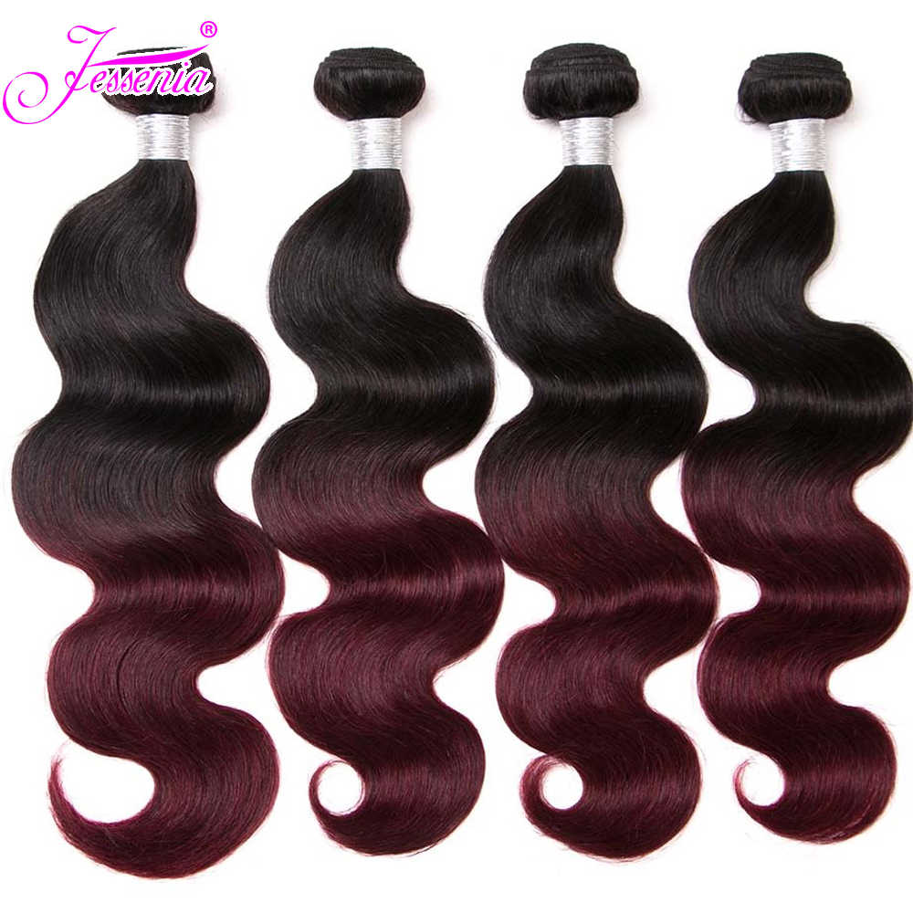 Jessenia Human Hair Bundles Ombre Hair Extensions Brazilian Body Wave 4 Bundles 100% Remy Hair Weaves Black/Burgundy Wine Red