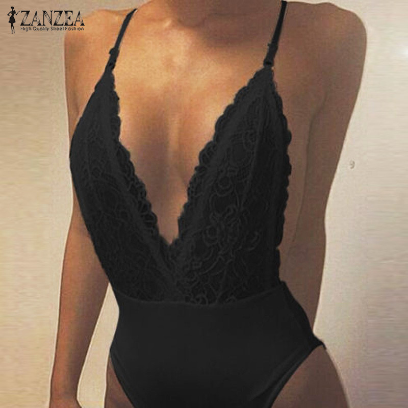 ZANZEA Summer Fashion Sexy Rompers Women Jumpsuit Deep V Neck Sleeveless Spaghetti Strap Backless Playsuits Lace Solid Bodysuits