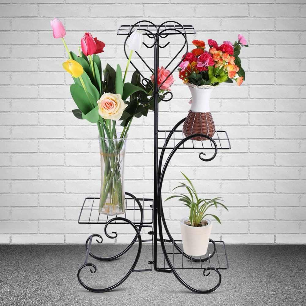 Nova 4 Camada De Metal Decorativo Planta Vaso de Flores Stand Rack Prateleira de Exposição Prateleira Do Armazém Pátio Com Jardim Ao Ar Livre Indoor