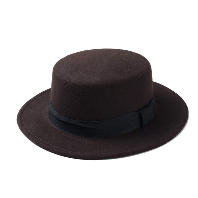 37ba159caba Fashion Wool Boater Flat Top Hat For Men s Felt Wide Brim Fedora Hat  Gentleman Prok Pie