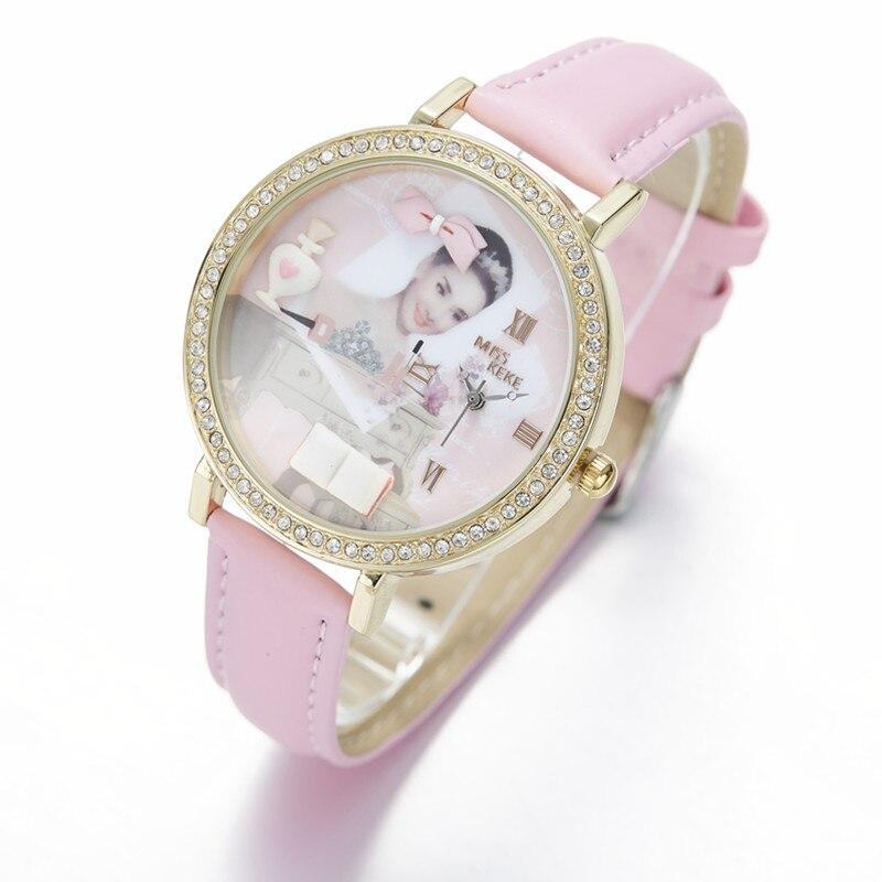 Miss Keke 3d Clay Cute Audrey Hepburn Theepot Strass Horloges Vintage - Dameshorloges - Foto 2