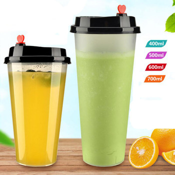 100 Pcs Popular Clear Frosted Disposal Plastic Juice Coffee Beverage Cup with Loving Heart Lid, High Quality Water Drinking cup Кубок