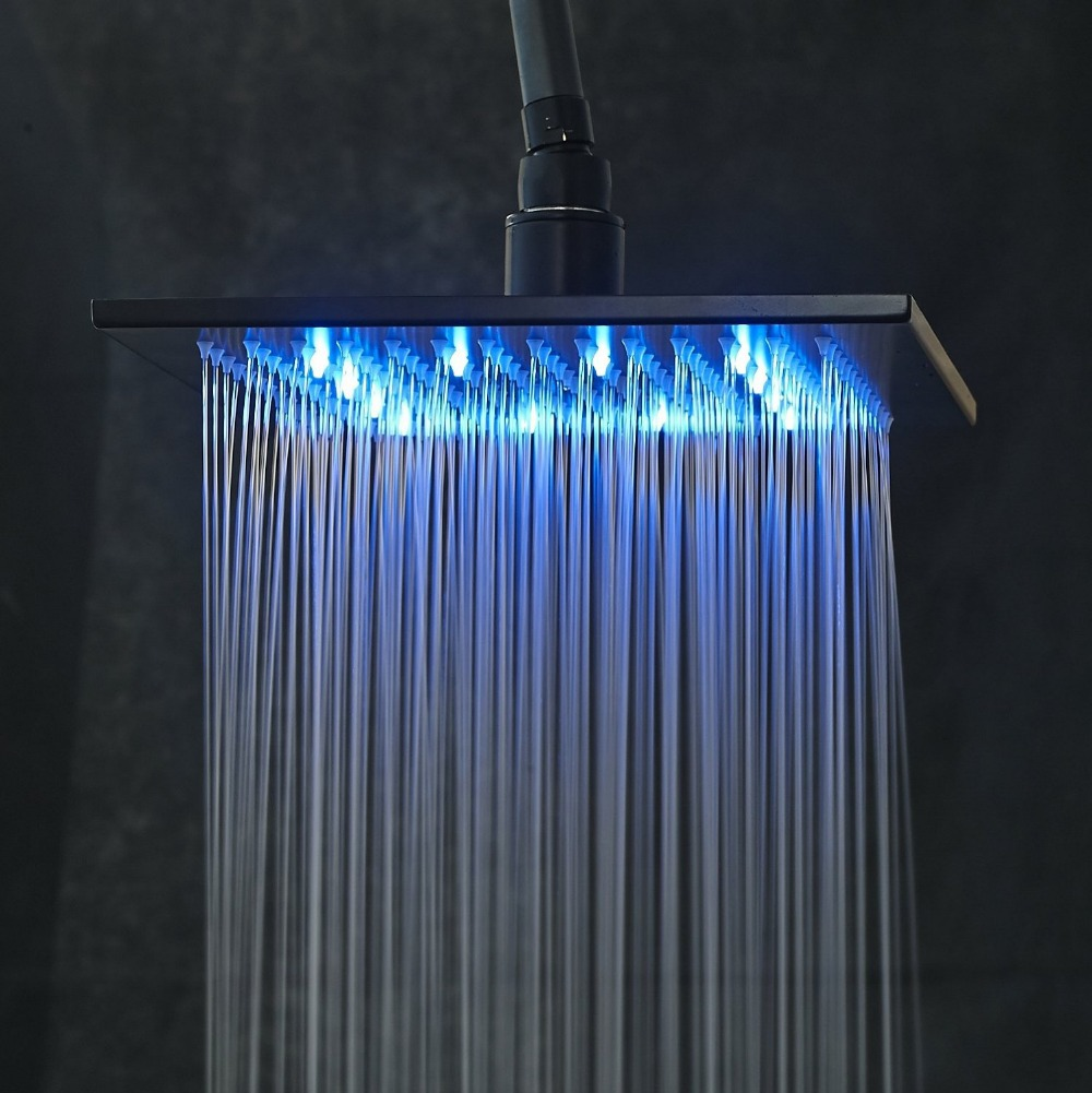 LED Color 10 Inch Overhead Rainfall Shower Head with Wall Mount ...
