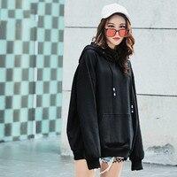 New Hot Women Sweatshirt Cotton Loose Harajuku Hooded Female Casual Hoodies Sweatshirts BF Style White Black Moletons Femininos
