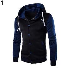 Hot Men Hooded Color Block Slim Fit Baseball Jacket Casual Coat Outwear