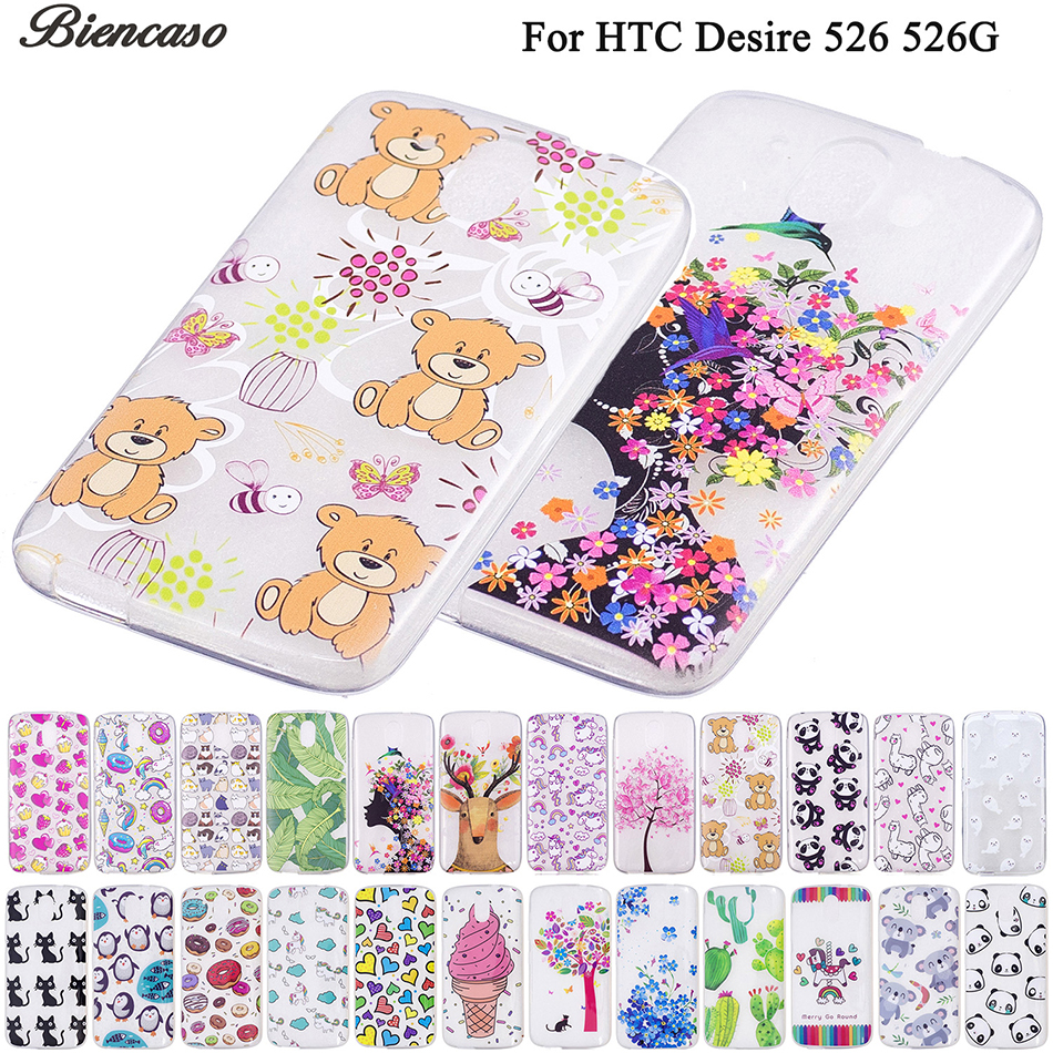 Biencaso Cartoon Pattern TPU Gel Slim Transparent Case For HTC Desire D526 526 526G Cover Soft Silicone Skin Fundas Bags B111