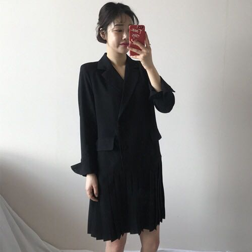 Getsring Women Dress Double Breasted Suit Dress 2018 Spring Long