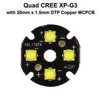 Quad Cree XP-G3 LED Emissor com DTP KDLITKER 20mm x 1.5 milímetros de Cobre PCB (Paralela) w/óptica