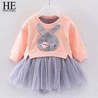 HE Hello Enjoy Toddler Girl Dress Kids Dresses Spring Autumn Girls Clothes Long Sleeve Cartoon Cotton