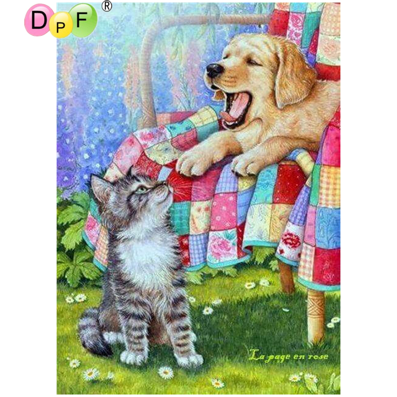 DPF DIY Cat dog 5D diamond embroidery diamond mosaic full square crafts home decor wall painting diamond painting cross stitch thumbnail