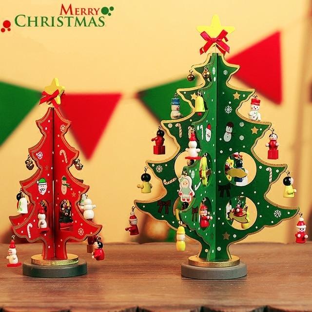 2016 mini cartoon wooden christmas tree decoration small xmas tree decorations christmas ornaments supplies crafts xmas