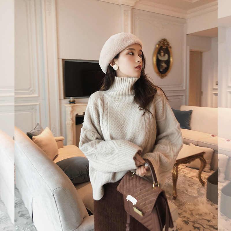 Mishow 2018 겨울 새로운 스웨터 코트 여성 느슨한 높은 칼라 bottoming thicken pure color sweater MX18D5408