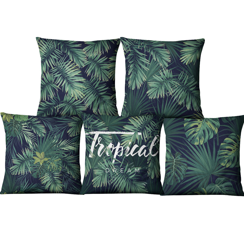 Modern African Tropical Plant Printed Cushion Cover Green Leaves Linen Throw Pillow Case for Square Pillow Sofa Decor 45X45cm