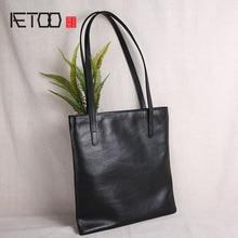 Aetoo 가죽 여성 핸드백, 간단한 머리 가죽 대용량 한 어깨 가방, 부드러운 가죽 쇼핑 가방