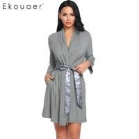 Ekouear Women Casual Robe Front Open Bathrobe Regular Fit Patchwork Belt Comfortable Sleepwear Bathroom Spa Robe